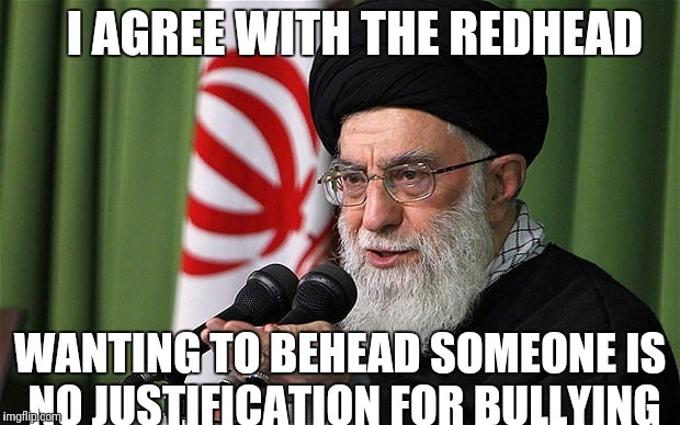Especially if they are an infidel. Come on people, what is the world coming to? | I AGREE WITH THE REDHEAD WANTING TO BEHEAD SOMEONE IS NO JUSTIFICATION FOR BULLYING | image tagged in kathy griffin,iran | made w/ Imgflip meme maker