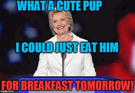 Hillary | WHAT A CUTE PUP FOR BREAKFAST TOMORROW! I COULD JUST EAT HIM | image tagged in hillary | made w/ Imgflip meme maker