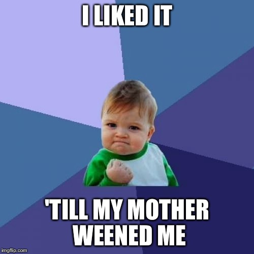 Success Kid Meme | I LIKED IT 'TILL MY MOTHER WEENED ME | image tagged in memes,success kid | made w/ Imgflip meme maker