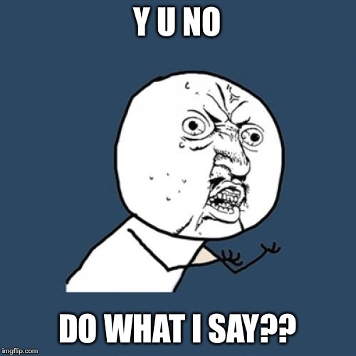 Y U No Meme | Y U NO DO WHAT I SAY?? | image tagged in memes,y u no | made w/ Imgflip meme maker