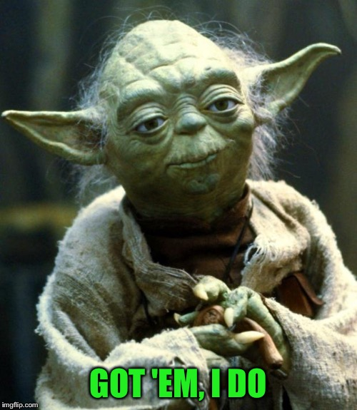Star Wars Yoda Meme | GOT 'EM, I DO | image tagged in memes,star wars yoda | made w/ Imgflip meme maker
