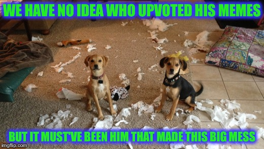 WE HAVE NO IDEA WHO UPVOTED HIS MEMES BUT IT MUST'VE BEEN HIM THAT MADE THIS BIG MESS | made w/ Imgflip meme maker