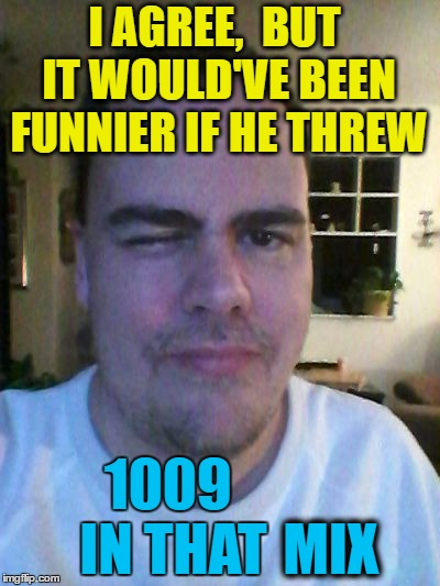 wink | I AGREE,  BUT IT WOULD'VE BEEN FUNNIER IF HE THREW 1009 IN THAT MIX | image tagged in wink | made w/ Imgflip meme maker