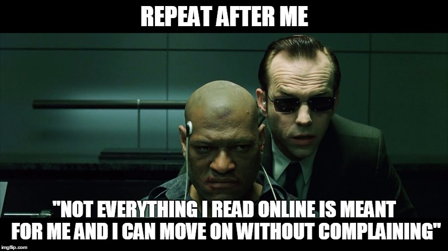 "REPEAT AFTER ME ""NOT EVERYTHING I READ ONLINE IS MEANT FOR ME AND I CAN MOVE ON WITHOUT COMPLAINING"" 