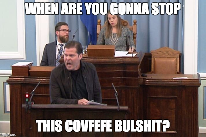 Stop covfefe | WHEN ARE YOU GONNA STOP THIS COVFEFE BULSHIT? | image tagged in when,covfefe,covfefe week,stop | made w/ Imgflip meme maker