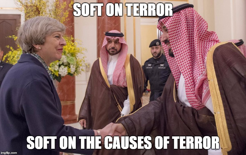 SOFT ON TERROR SOFT ON THE CAUSES OF TERROR | image tagged in election 2016,theresa may,terrorism | made w/ Imgflip meme maker