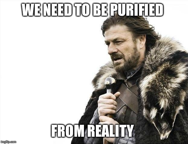 Brace Yourselves X is Coming Meme | WE NEED TO BE PURIFIED FROM REALITY | image tagged in memes,brace yourselves x is coming | made w/ Imgflip meme maker