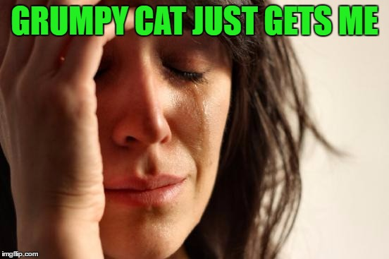 First World Problems Meme | GRUMPY CAT JUST GETS ME | image tagged in memes,first world problems | made w/ Imgflip meme maker