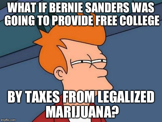 Feel the Bern! | WHAT IF BERNIE SANDERS WAS GOING TO PROVIDE FREE COLLEGE BY TAXES FROM LEGALIZED MARIJUANA? | image tagged in memes,futurama fry,bernie sanders,feel the bern,legalize weed | made w/ Imgflip meme maker