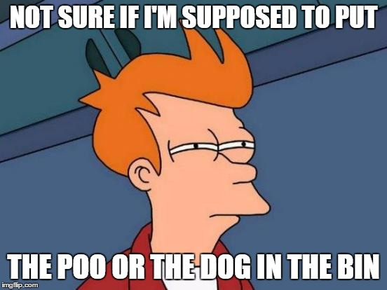Futurama Fry Meme | NOT SURE IF I'M SUPPOSED TO PUT THE POO OR THE DOG IN THE BIN | image tagged in memes,futurama fry | made w/ Imgflip meme maker