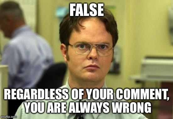 Dwight Schrute Meme | FALSE REGARDLESS OF YOUR COMMENT, YOU ARE ALWAYS WRONG | image tagged in memes,dwight schrute | made w/ Imgflip meme maker