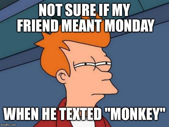 "Futurama Fry Meme | NOT SURE IF MY FRIEND MEANT MONDAY WHEN HE TEXTED ""MONKEY"" 