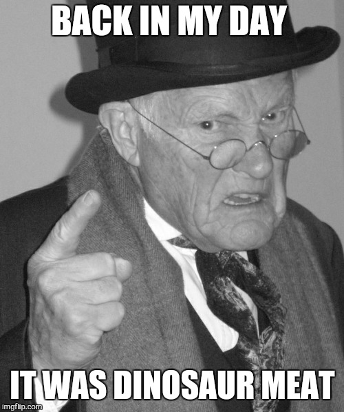 Back in my day | BACK IN MY DAY IT WAS DINOSAUR MEAT | image tagged in back in my day | made w/ Imgflip meme maker