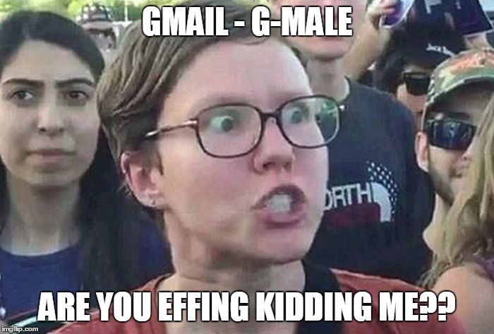 Triggered Liberal | GMAIL - G-MALE ARE YOU EFFING KIDDING ME?? | image tagged in triggered liberal | made w/ Imgflip meme maker