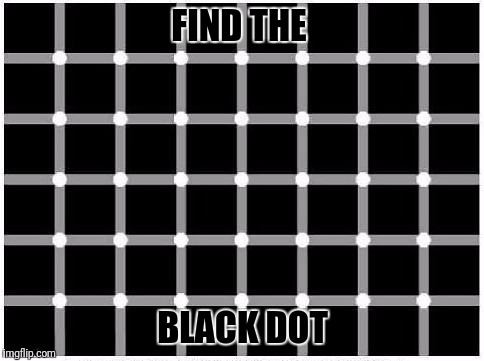 Optically Delicious | FIND THE BLACK DOT | image tagged in memes,optical illusion,zeitgeist,find the black dot,dazzzer,smith | made w/ Imgflip meme maker
