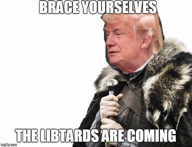 Brace Yourselves X is Coming Meme | BRACE YOURSELVES THE LIBTARDS ARE COMING | image tagged in memes,brace yourselves x is coming,trump | made w/ Imgflip meme maker