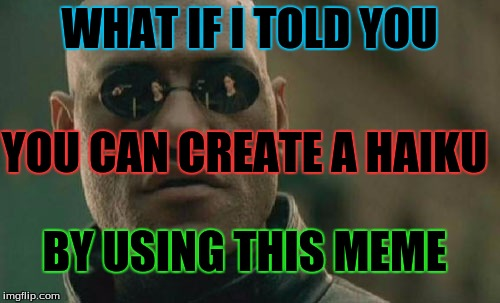 Matrix Morpheus Meme | WHAT IF I TOLD YOU YOU CAN CREATE A HAIKU BY USING THIS MEME | image tagged in memes,matrix morpheus | made w/ Imgflip meme maker