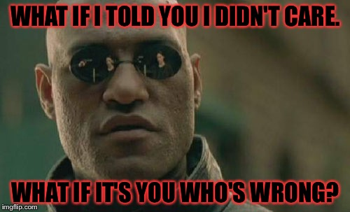 Matrix Morpheus Meme | WHAT IF I TOLD YOU I DIDN'T CARE. WHAT IF IT'S YOU WHO'S WRONG? | image tagged in memes,matrix morpheus | made w/ Imgflip meme maker