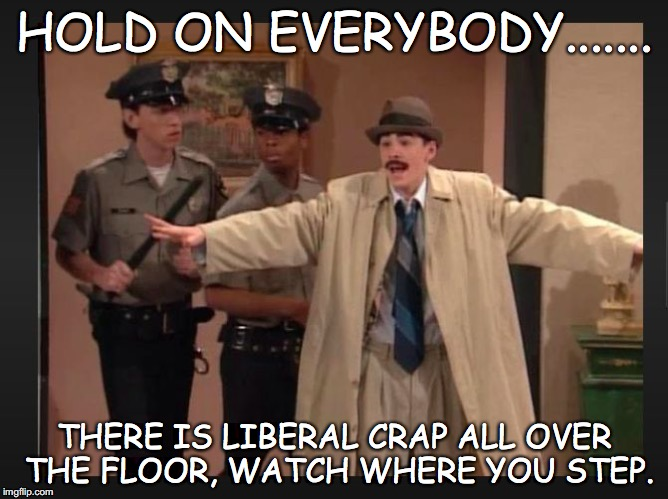 detective dan | HOLD ON EVERYBODY....... THERE IS LIBERAL CRAP ALL OVER THE FLOOR, WATCH WHERE YOU STEP. | image tagged in detective dan | made w/ Imgflip meme maker