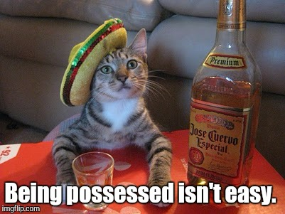 Tequila | Being possessed isn't easy. | image tagged in tequila | made w/ Imgflip meme maker