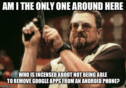 Am I The Only One Around Here Meme | AM I THE ONLY ONE AROUND HERE WHO IS INCENSED ABOUT NOT BEING ABLE TO REMOVE GOOGLE APPS FROM AN ANDROID PHONE? | image tagged in memes,am i the only one around here,AdviceAnimals | made w/ Imgflip meme maker