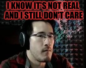 Markiplier not impressed | I KNOW IT'S NOT REAL AND I STILL DON'T CARE | image tagged in markiplier not impressed | made w/ Imgflip meme maker