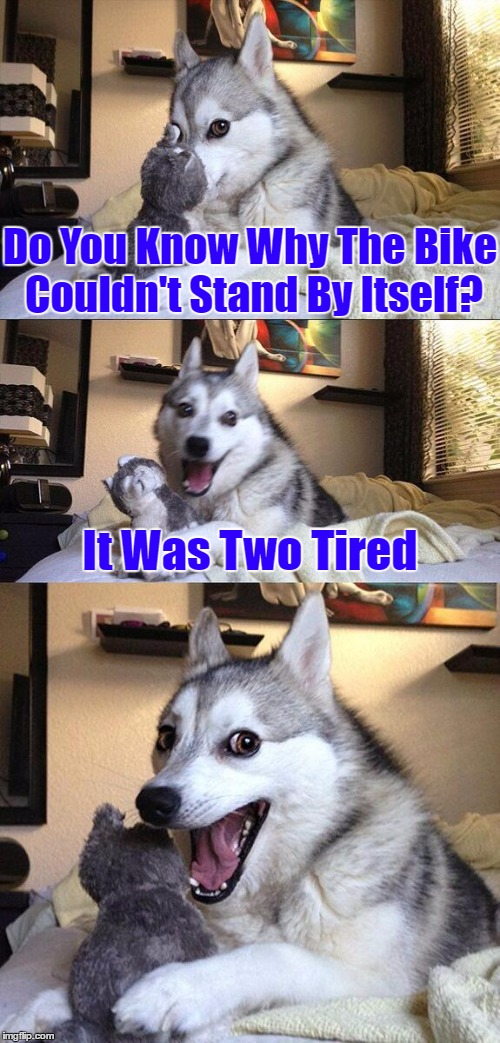 Bad Pun Dog Meme | Do You Know Why The Bike Couldn't Stand By Itself? It Was Two Tired | image tagged in memes,bad pun dog,google images,bike,jokes,craziness_all_the_way | made w/ Imgflip meme maker