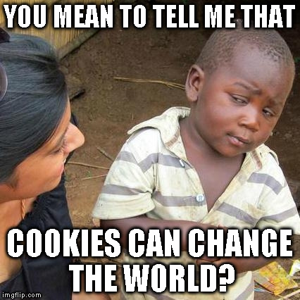 Third World Skeptical Kid Meme | YOU MEAN TO TELL ME THAT COOKIES CAN CHANGE THE WORLD? | image tagged in memes,third world skeptical kid | made w/ Imgflip meme maker