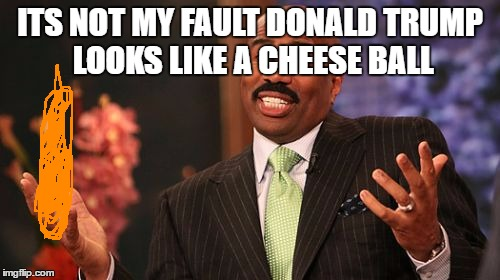 Steve Harvey Meme | ITS NOT MY FAULT DONALD TRUMP LOOKS LIKE A CHEESE BALL | image tagged in memes,steve harvey | made w/ Imgflip meme maker