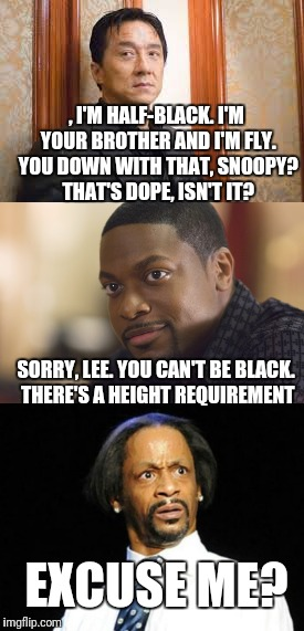 Escuse me? | , I'M HALF-BLACK. I'M YOUR BROTHER AND I'M FLY. YOU DOWN WITH THAT, SNOOPY? THAT'S DOPE, ISN'T IT? SORRY, LEE. YOU CAN'T BE BLACK. THERE'S A | image tagged in rush hour,jackie chan,chris tucker,katt williams | made w/ Imgflip meme maker