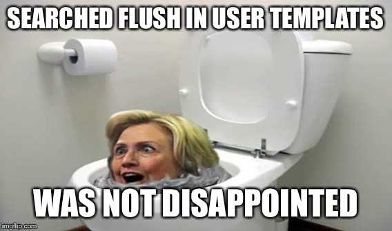 SEARCHED FLUSH IN USER TEMPLATES WAS NOT DISAPPOINTED | made w/ Imgflip meme maker