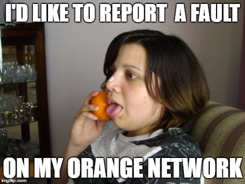 Wrong Number Rita | I'D LIKE TO REPORT  A FAULT ON MY ORANGE NETWORK | image tagged in memes,wrong number rita | made w/ Imgflip meme maker