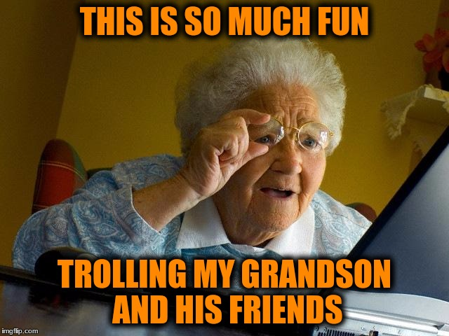 Grandma Finds The Internet Meme | THIS IS SO MUCH FUN TROLLING MY GRANDSON AND HIS FRIENDS | image tagged in memes,grandma finds the internet | made w/ Imgflip meme maker