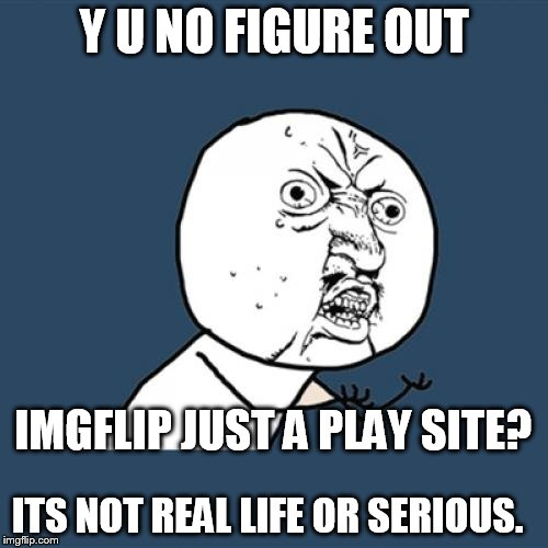 Y U No Meme | Y U NO FIGURE OUT IMGFLIP JUST A PLAY SITE? ITS NOT REAL LIFE OR SERIOUS. | image tagged in memes,y u no,imgflip  playtime,fun | made w/ Imgflip meme maker