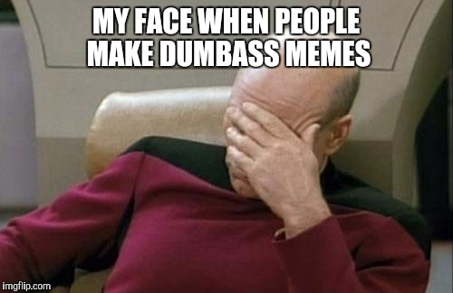 Captain Picard Facepalm Meme | MY FACE WHEN PEOPLE MAKE DUMBASS MEMES | image tagged in memes,captain picard facepalm | made w/ Imgflip meme maker