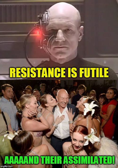 Resistance to Patrick Stewart is futile... | THE PERSON WHO MAKES IT, SELLS IT.THE PERSON WHO BUYS IT NEVER USES IT.THE PERSON WHO USES IT DOESN'T KNOW IT. WHAT IS IT? | image tagged in memes,borg,resistance is futile,captain picard,assimilation,star trek the next generation | made w/ Imgflip meme maker