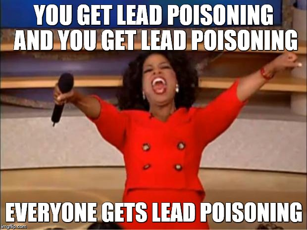Oprah You Get A Meme | YOU GET LEAD POISONING AND YOU GET LEAD POISONING EVERYONE GETS LEAD POISONING | image tagged in memes,oprah you get a | made w/ Imgflip meme maker