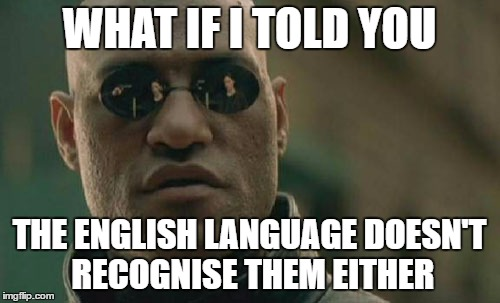 Matrix Morpheus Meme | WHAT IF I TOLD YOU THE ENGLISH LANGUAGE DOESN'T RECOGNISE THEM EITHER | image tagged in memes,matrix morpheus | made w/ Imgflip meme maker