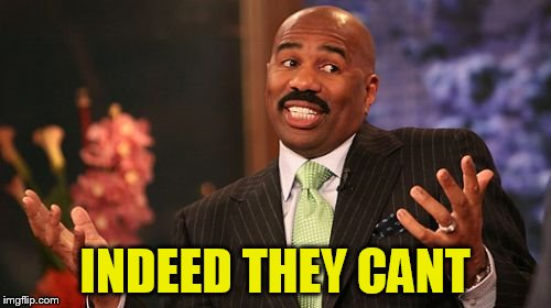 Steve Harvey Meme | INDEED THEY CANT | image tagged in memes,steve harvey | made w/ Imgflip meme maker