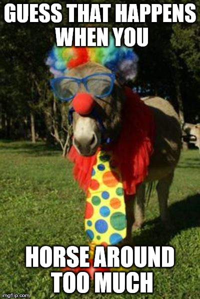 Ass clown | GUESS THAT HAPPENS WHEN YOU HORSE AROUND TOO MUCH | image tagged in ass clown | made w/ Imgflip meme maker