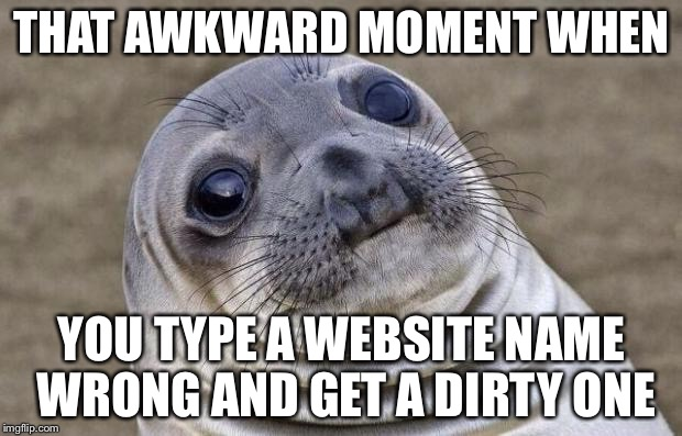 Dirty websites | THAT AWKWARD MOMENT WHEN YOU TYPE A WEBSITE NAME WRONG AND GET A DIRTY ONE | image tagged in memes,awkward moment sealion | made w/ Imgflip meme maker