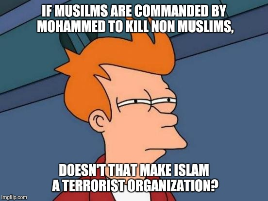 Futurama Fry Meme | IF MUSILMS ARE COMMANDED BY MOHAMMED TO KILL NON MUSLIMS, DOESN'T THAT MAKE ISLAM A TERRORIST ORGANIZATION? | image tagged in memes,futurama fry | made w/ Imgflip meme maker