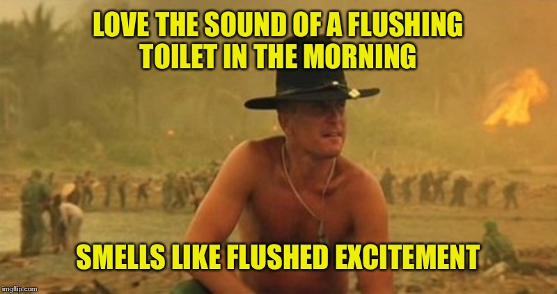 LOVE THE SOUND OF A FLUSHING TOILET IN THE MORNING SMELLS LIKE FLUSHED EXCITEMENT | made w/ Imgflip meme maker