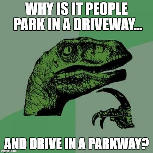 Philosoraptor Meme | WHY IS IT PEOPLE PARK IN A DRIVEWAY... AND DRIVE IN A PARKWAY? | image tagged in memes,philosoraptor | made w/ Imgflip meme maker