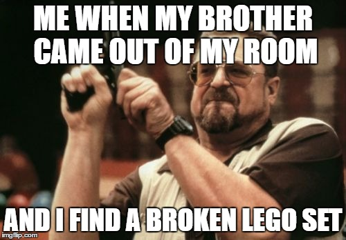 Am I The Only One Around Here Meme | ME WHEN MY BROTHER CAME OUT OF MY ROOM AND I FIND A BROKEN LEGO SET | image tagged in memes,am i the only one around here | made w/ Imgflip meme maker