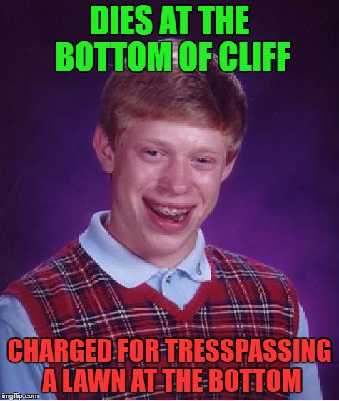 Bad Luck Brian Meme | DIES AT THE BOTTOM OF CLIFF CHARGED FOR TRESSPASSING A LAWN AT THE BOTTOM | image tagged in memes,bad luck brian | made w/ Imgflip meme maker
