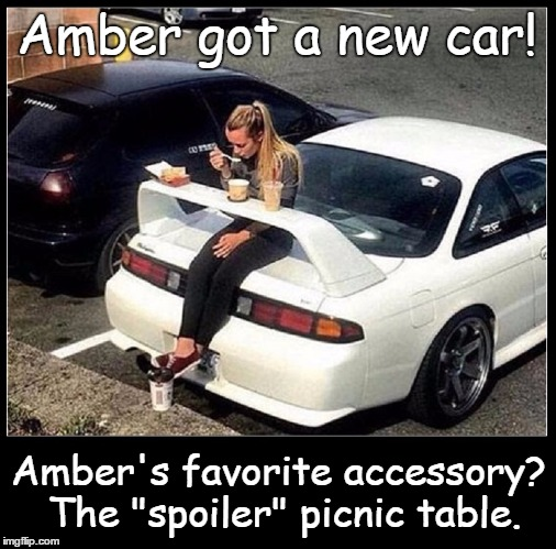 "What's that You Said About Blonds | Amber got a new car! Amber's favorite accessory? The ""spoiler"" picnic table. 