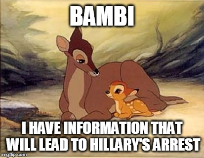 And now you know... | BAMBI I HAVE INFORMATION THAT WILL LEAD TO HILLARY'S ARREST | image tagged in bambi,crooked hillary | made w/ Imgflip meme maker