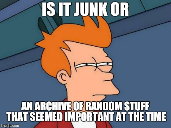 Futurama Fry Meme | IS IT JUNK OR AN ARCHIVE OF RANDOM STUFF THAT SEEMED IMPORTANT AT THE TIME | image tagged in memes,futurama fry | made w/ Imgflip meme maker