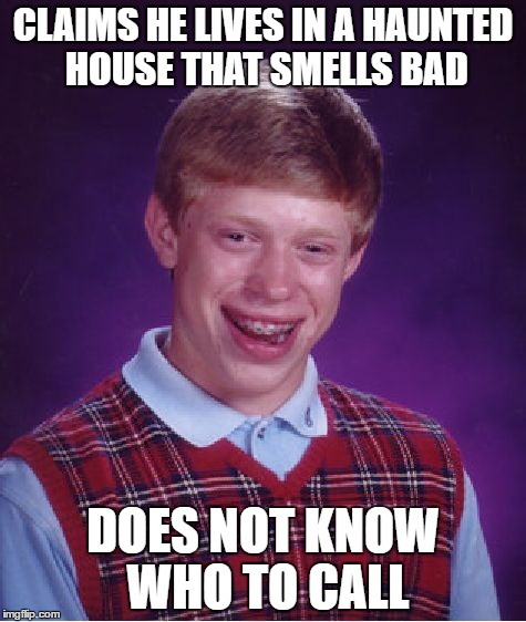 Brian should have called Mario. | CLAIMS HE LIVES IN A HAUNTED HOUSE THAT SMELLS BAD DOES NOT KNOW WHO TO CALL | image tagged in memes,bad luck brian | made w/ Imgflip meme maker